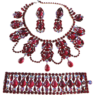 Siam Red & AB Swarovski Rhinestone with Flawed Ruby Artglass Festoon Necklace, Bracelet & Earrings by Elizabeth Cooke