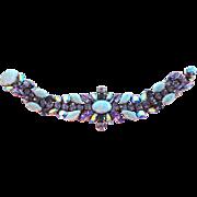 Tanzanite, Montana & AB Swarovski Rhinestone with Turquoise Matrix Artglass Bracelet by Elizabeth Cooke