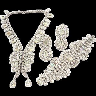 Crystal Clear Swarovski Rhinestone Butterfly Necklace, Bracelet & Earrings by Elizabeth Cooke