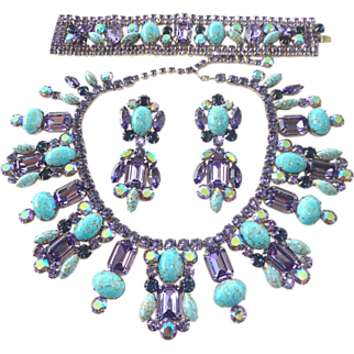 Turquoise Matrix Glass, Tanzanite & AB Swarovski Rhinestone Necklace, Bracelet & Earrings by Elizabeth Cooke