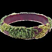 Vintage floral Celluloid Bangle Bracelet