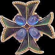 Crown Trifari Enamel jewel Maltese Cross Pin Brooch