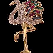 Vintage Unsigned Rhinestones Flamingo Brooch Pin