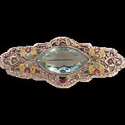 Art Deco Blue Stone Enamel Pin Brooch