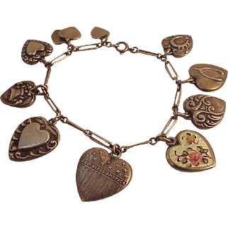 Victorian Sterling Puffy Heart Charm Bracelet