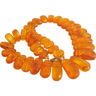 Vintage Art Deco Genuine Amber Bib Necklace