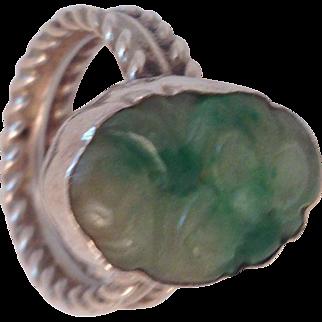 Vintage Carved Genuine Jade Sterling Silver Ring