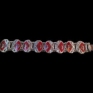 Vintage Sterling Siam red Enamel Bracelet