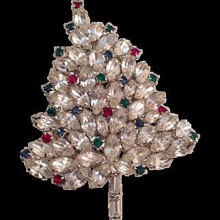 Unsigned Vintage Jeweled Rhinestones Christmas Tree Brooch Pin