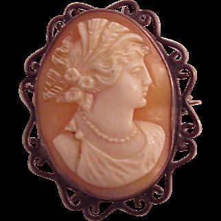 vintage sterling Carved Genuine Cameo Pin Pendant