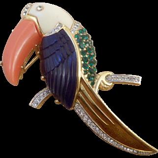 Vintage Signed Hattie Carnegie Toucan Pin Brooch