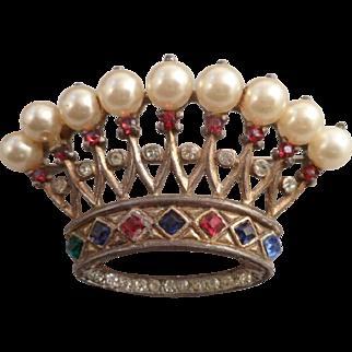 Vintage Trifari Sterling Crown Brooch Pin