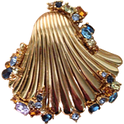 Vintage Ciner Sea Shell Crystal Pin Brooch