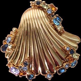 Vintage Ciner Sea Shell Crystal Pin Brooch