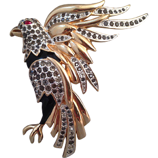 Vintage Panetta Eagle rhinestones Pin Brooch