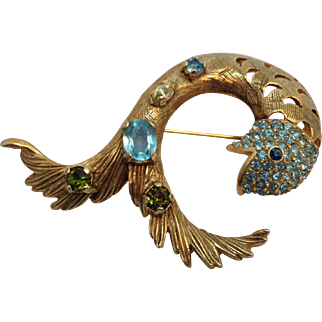 Vintage Castlecliff Jewelled Fish Pin Brooch