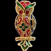 Vintage Crown Trifari Enamel Owl Pin brooch