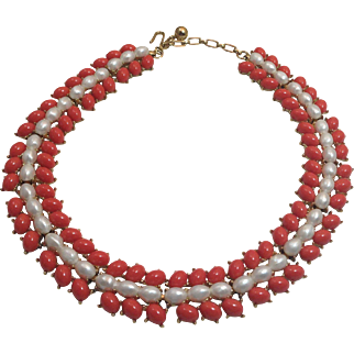 Vintage Trifari Faux Coral And Pearls Necklace