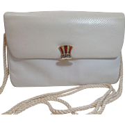 Vintage Judith Leiber White Leather Bag Purse With Rhinestones Closure
