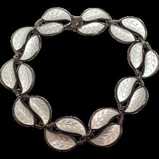 Vintage Sterling Silver David Andersen White Leaves Bracelet