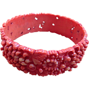 Vintage Salmon Color Celluloid Bracelet Bangle