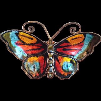 Vintage David Andersen Sterling Silver Enamel Butterfly Brooch Pin