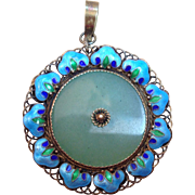 Vintage Silver Chinese enamel and Green Aventurine Pendant