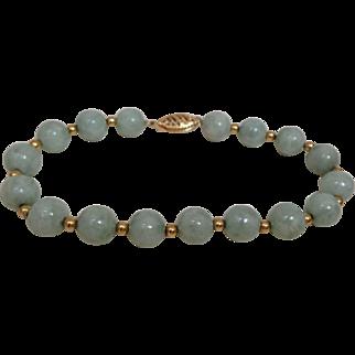 Vintage Genuine jade Jadeite Beads 14kt