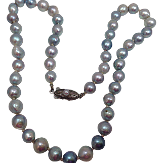 Vintage genuine Grey Pearls Silver Necklace