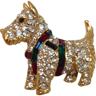 Kenneth Jay lane KJL Rhinestones Dog Pin Brooch