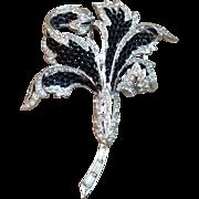 Vintage Boucher Black Enamel Rhinestones Brooch Pin