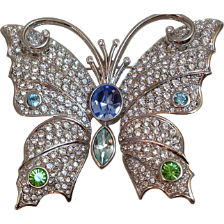 Vintage Signed Swarovski Butterfly Pin Brooch