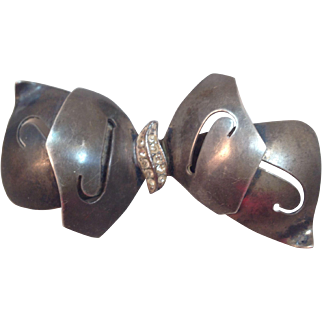 Vintage Castlecliff  Sterling Bow Brooch Pin