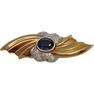 Vintage Signed Panetta Rhinestones Brooch Pin