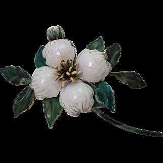 Vintage Sandor Dogwood Flower Enamel Brooch Pin