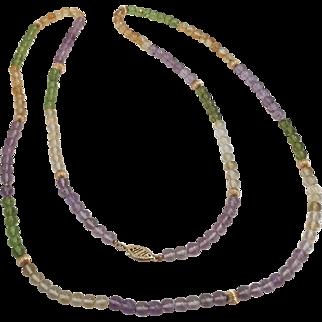 Vintage Gemstone Beads 14Kt necklace