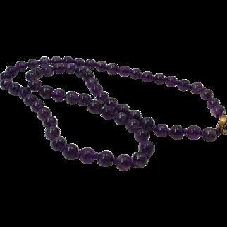 Vintage Genuine Amethyst Beads Necklace