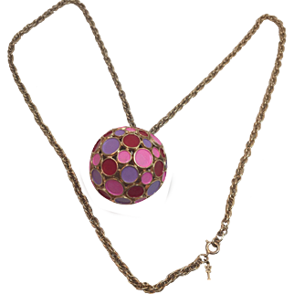 Vintage Trifari Chain and enamel Disco Ball Pendant