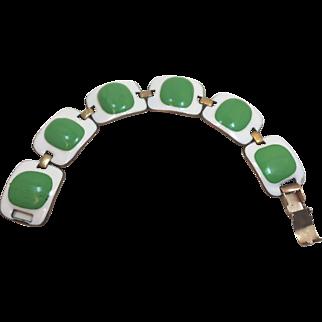Vintage Kay Denning Enamel And Glass Bracelet