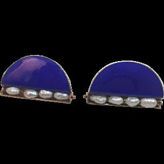 Vintage Enamel Sterling Fresh water Pearls earrings