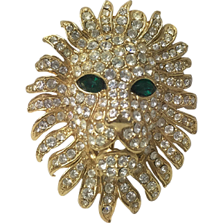 Vintage rhinestones Lion Head Pin Brooch