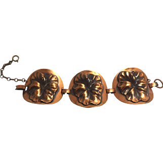 Vintage Unsigned Copper Pansy Bracelet