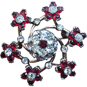 Vintage Pennino Sterling Red Rhinestones Pin Brooch