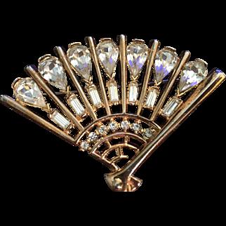 Vintage Rhinestones Fan Brooch Pin