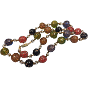 Vintage Murano Art Glass Necklace With Gold Stone Colorful