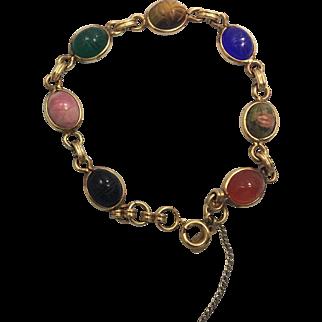Vintage Carla Scarab G. Filled Semi Precious Stones Bracelet