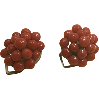 Vintage Italian Genuine  Red Coral Clip Earrings