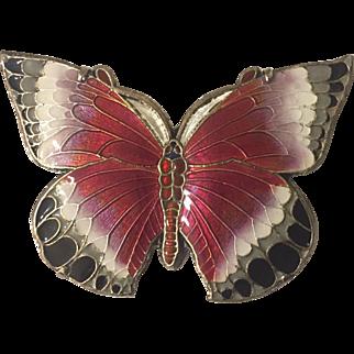 Vintage silver enamel butterfly pin brooch