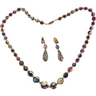 Vintage millefiori art glass necklace and earrings