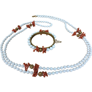 Vintage Miriam Haskell white beads and faux coral necklace bracelet set